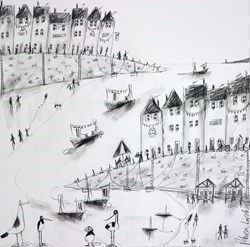 Harbourside Sketch V by Rebecca Lardner -  sized 20x20 inches. Available from Whitewall Galleries